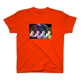 アートな長毛猫 Tシャツ