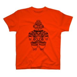 遮光器土偶 黒 (前姿)  T-shirts