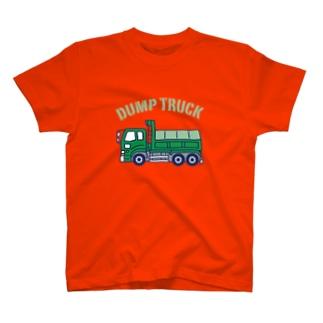 ダンプカー Dump Truck 濃色 T-shirts