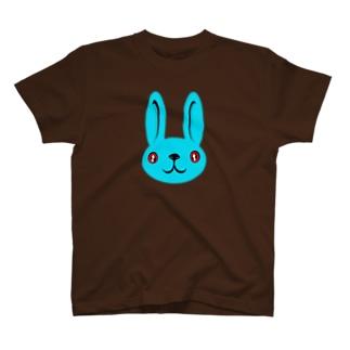 ウサギ blue Tシャツ