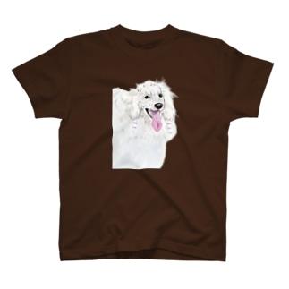 white poodle Tシャツ