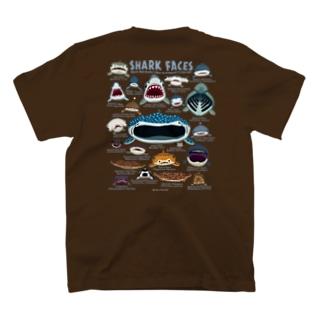 サメカオdeepcolorバックプリント T-shirts