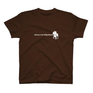 文字ネタ096 三度の飯より馬が好き 英語版 白 T-shirts