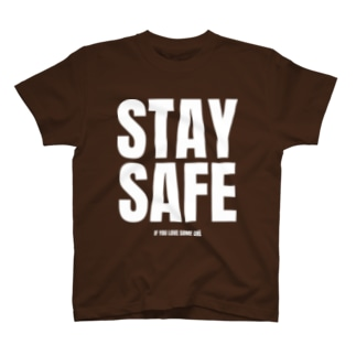 STAY SAFE IF YOU LOVE SOME ONE / ホワイトプリント フロント T-Shirt