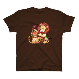 *えいぷりる どぎぃ工房*の親子ライオン T-Shirt