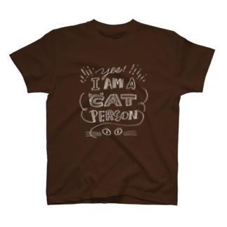 溝呂木一美のお店の私は猫派です。(白インク/裏印刷あり) T-shirts