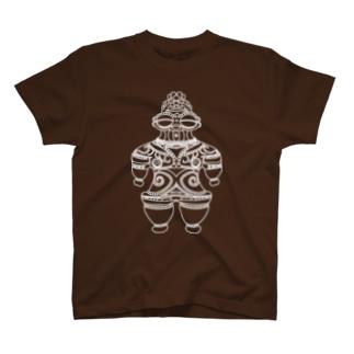 遮光器土偶 白 (前姿と後姿)  T-shirts