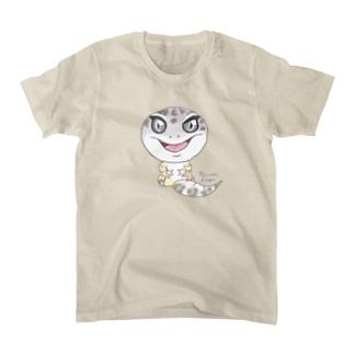 おすわりレオパ(マックスノー系) Tシャツ