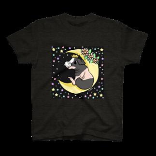 Lichtmuhleの月とモルモット(ゆるかわ×スキニーギニアピッグ) Tシャツ
