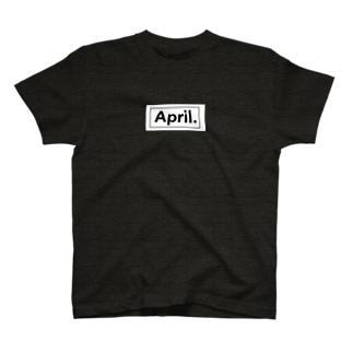 April.BOX LOGO(ホワイト×ブラック) T-shirts