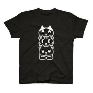 トーテム猫 黒T用 T-shirts