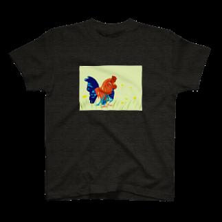 yuka sugita SAKUSHIのアメコミ風×ニワトリ T-shirts