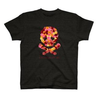 フラワードクロ(レッド) T-shirts