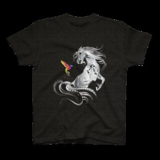 Drecome_Designの馬とハチドリ T-shirts