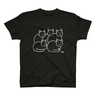 ねこちゃんと5ひき白ライン T-shirts
