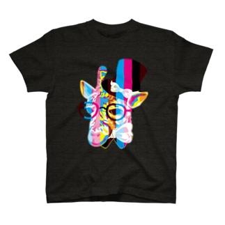 おしゃれ好きなキリン(ジラフ)フェイス-しましま T-shirts