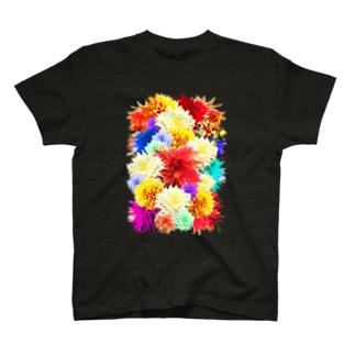 ボタニカル柄-花柄-モード好きに-カラフル T-shirts