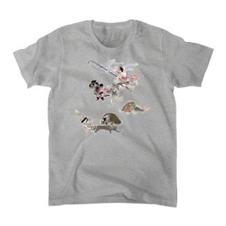 百鬼夜行絵巻 琵琶・琴・浅沓・払子・鉦鼓・靴の付喪神と黒い犀の妖怪【絵巻物・妖怪・かわいい】 T-shirts