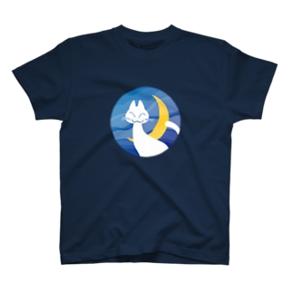 月夜の白猫 Tシャツ