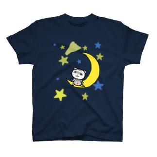 月とフェレット(シルバー) Tシャツ
