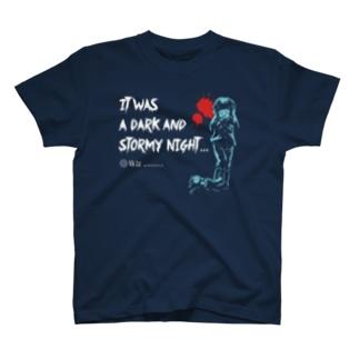 怖話-Girlイラスト(T-Shirt Navy) Tシャツ