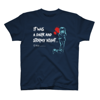 怖話グッズの怖話-Girlイラスト(T-Shirt Navy)Tシャツ