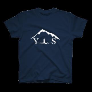 YASHIMA-SLACKLINESのYSスプレッド-ホワイトTシャツ