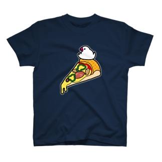 ピザで暖をとる文鳥(素材が濃い色用) Tシャツ