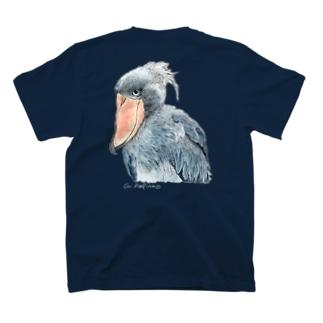 ハシビロコウ カラー 濃色T バックプリント T-shirts
