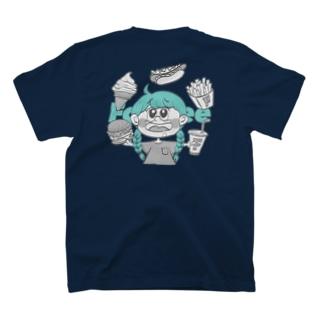 burger TシャツNavy blue T-shirts