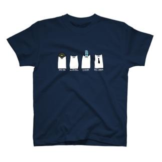 はたらくねこさんたち(濃い色用) T-shirts