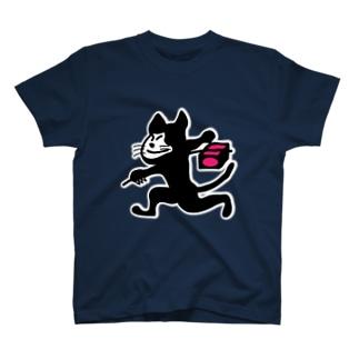 クロネコ着ぐるみの飛脚 T-shirts