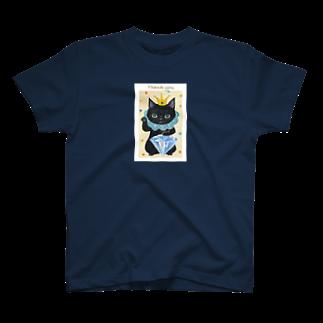 necomanmahouseのまねきねこ黒 T-shirts