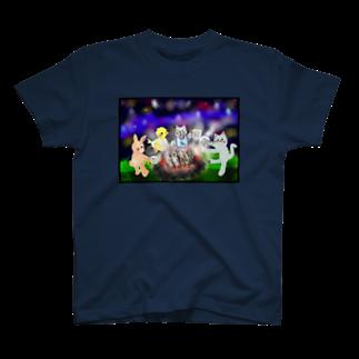 ʚ一ノ瀬 彩 公式 ストアɞの夜空キャンプ【ゆめかわアニマル】 T-shirts