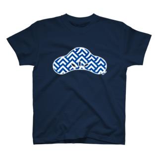 松葉波模様 光琳松 青 T-shirts