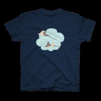 ヤマノナガメの空飛ぶエイ Tシャツ