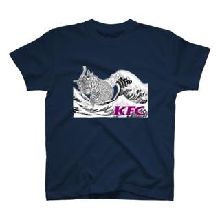 KFC_黒波_紫字_白抜き T-shirts
