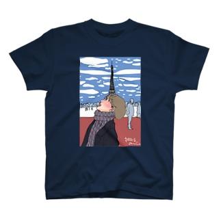 エッフェル塔の見える風景と少女 T-shirts