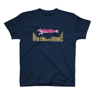 一緒に楽しもう ボーダーコリーと桜 T-shirts
