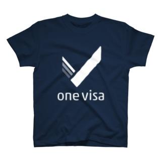one visa White Logo T-shirts