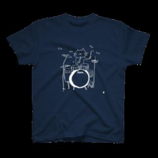 なで肩うさぎの美香堂のドラムを叩く猫:線描きver. T-shirts