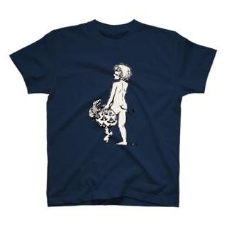 真白な背中 T-shirts