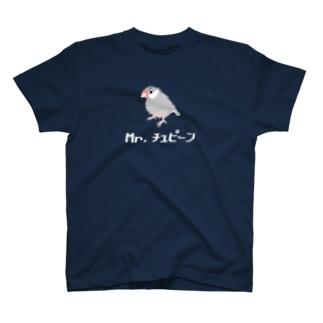 眉毛がある文鳥Mr.チュピーン(白文字) T-shirts