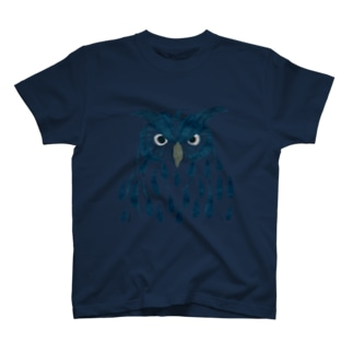 ツルマルデザインのフクロウ・藍 T-shirts