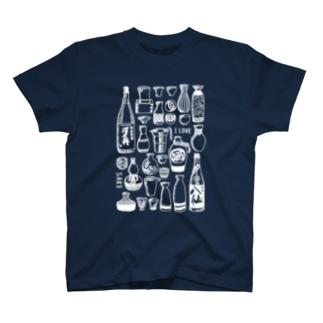 日本酒が好きな人に着て欲しい濃い生地用白プリント T-shirts