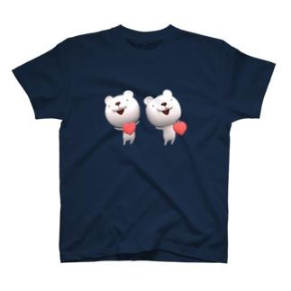 立体視で飛び出す! 3Dシンクロくまちゃん/ハート T-shirts