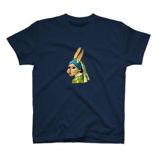 青いターバンのウサギ T-shirts