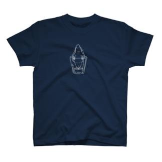 コップで水を飲むインコ(白) T-shirts