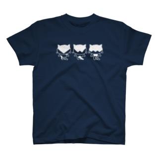 猫ねむりzzz..のハチワレにゃんこ後ろ姿三兄弟 T-shirts