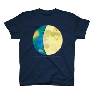 地球と月の満ち欠け (セット) 黒地用 T-shirts
